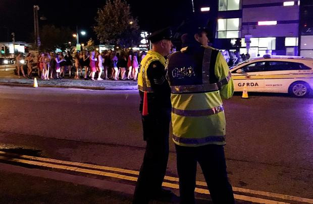 Gardai were on hand as partygoers queued up at the Wright Venue in Swords