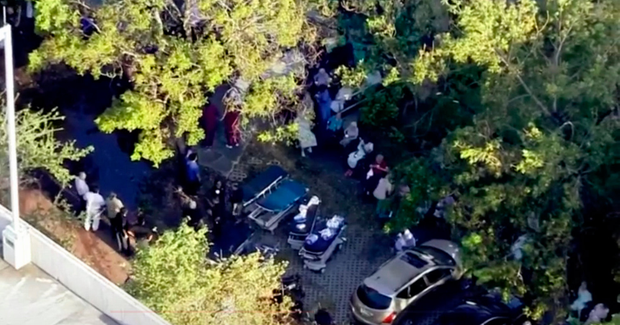Elderly people evacuated from a Florida nursing home.