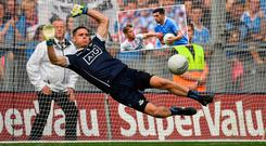 Stephen Cluxton and (inset) Cian O'Sullivan in action