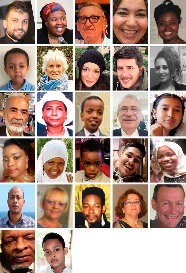 Undated handout photos of 27 of the confirmed victims who died in the Grenfell Tower fire. (top row left to right) Mohammad Alhajali, Ya-Haddy Sisi Saye, also known as Khadija Saye, Anthony Disson, Khadija Khalloufi, Mary Mendy, (second row left to right) Isaac Paulos, Sheila, Gloria Trevisan, Marco Gottardi, Berkti Haftom, (third row left to right) Ali Jafari, Majorie Vital, Yahya Hashim, Hamid Kani, Jessica Urbano Ramirez, (fouth row left to right) Zainab Deen, Nura Jemal, Jeremiah Deen, Yasin El Wahab, Firdaws Hashim, (fifth row left to right) Hasim Kedir, Deborah Lamprell, Ernie Vital, Sakina Afrasehabi, Denis Murphy, (sixth row left to right) Raymond Bernard and Biruk Haftom. Photo: PA/PA Wire