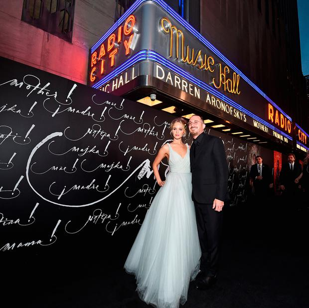 Actress Jennifer Lawrence (L) and writer/director Darren Aronofsky attend the New York premiere of 'mother!' at Radio City Music Hall on September 13, 2017 in New York, New York. (Photo by Michael Loccisano/Getty Images for Paramount Pictures)