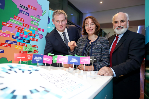Sean Kyne, T.D., Minister of State for Community Affairs,Lean Doody, Smart Cities Leader, and Prof Brian Donnellan, Maynooth University and chair of the All Ireland Smart Cities Forum