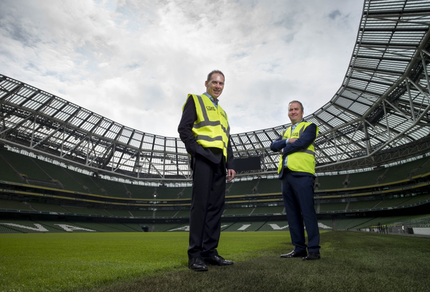 Michael O'Hara, managing director, DataSolutions, and David Keating, security specialist, DataSolutions ahead of company's Secure Computing Forum in the Aviva Stadium