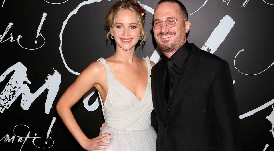 Jennifer Lawrence, left, and Darren Aronofsky attend the premiere of Paramount Pictures'