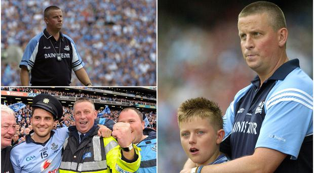 Paul Caffrey on the touchline in 2005 (top left), with Bernard Brogan and Dave Billings after the 2011 All-Ireland final (bottom left) and with his son Eric after the 2006 All-Ireland semi-final defeat to Mayo (right).