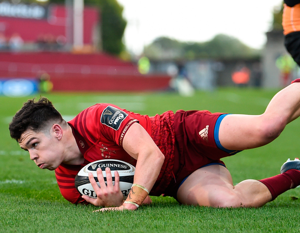 Munster's Alex Wootton of Munster goes over to score his side's third tryagainst the Cheetahs at Thomond Park. Photo: Diarmuid Greene/Sportsfile