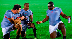 Stephan Coetzee, Masixole Banda and Luvuyo Pupuma of Southern Kings conduct their own post-mortem after last week's defeat to Connacht. Photo: Seb Daly/Sportsfile