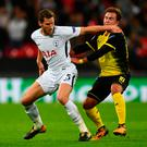 Jan Vertonghen of Tottenham Hotspur and Mario Gotze of Borussia Dortmund battle for possession during the UEFA Champions League group H match between Tottenham Hotspur and Borussia Dortmund at Wembley Stadium. (Photo by Dan Mullan/Getty Images)