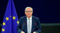 European Commission President Jean-Claude Juncker addresses the European Parliament during a debate on the state of the European Union in Strasbourg Picture: REUTERS/Christian Hartmann