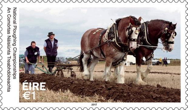 Godfrey Worrell and his son Darren feature on the new €1 stamp alongside their plough horses, Sally and Larry