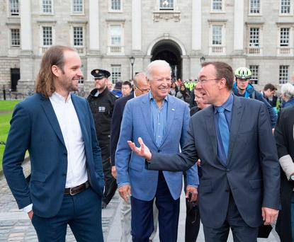 Former US vice president Joe Biden with Professor Christopher Morash, vice provost (right) during a visit to Trinity College Dublin yesterday. Photo: Paul Sharp