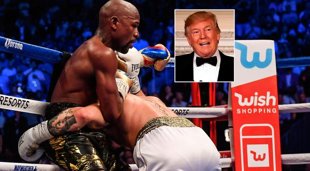 Floyd Mayweather in action against Conor McGregor and (inset) Donald Trump