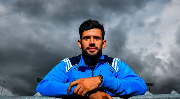 Cian O'Sullivan of Dublin poses for a portrait following a press conference in Parnell Park ahead of their GAA Football All-Ireland Senior Championship Final against Mayo. Photo by Ramsey Cardy/Sportsfile