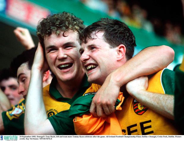 Donegal's Tony Boyle, left and team-mate Manus Boyle celebrate after the game. All Ireland Football Championship Final, Dublin v Donegal, Croke Park, Dublin. Picture credit; Ray McManus / SPORTSFILE