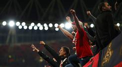 FC Koeln fans during the UEFA Europa League group H match between Arsenal FC and 1. FC Koeln at Emirates Stadium on September 14, 2017 in London, United Kingdom. (Photo by Richard Heathcote/Getty Images)