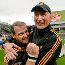 10 August 2014; Kilkenny manager Brian Cody celebrates with Jackie Tyrrell after the game. GAA Hurling All-Ireland Senior Championship, Semi-Final, Kilkenny v Limerick, Croke Park, Dublin. Picture credit: Paul Mohan / SPORTSFILE
