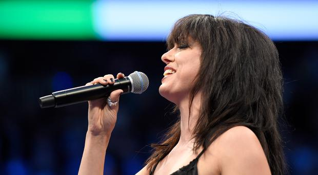 Imelda May sings the national anthem of Ireland prior to the super welterweight boxing match on August 26, 2017 at T-Mobile Arena in Las Vegas, Nevada. (Photo by Josh Hedges/Zuffa LLC/Zuffa LLC via Getty Images )