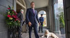 Taoiseach Leo Varadkar and Bobo the dog at the Fine Gael Parliamentary Party Meeting in the Minella Hotel, Clonmel, Co. Tipperary. Pic:Mark Condren