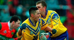 Karl Donnelly (R) in action for Na Fianna with Jason Sherlock in 2001. Picture credit; Damien Eagers / Sportsfile
