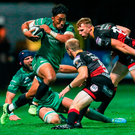 Bundee Aki of Connacht in action against Sarel Pretorius of Dragons. Photo by Gareth Everett/Sportsfile