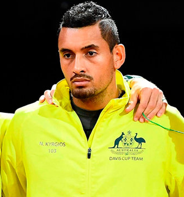 Australia's Davis Cup team (R/L) captain Lleyton Hewitt, Nick Kyrgios, John Millman, Jordan Thompson and John Peers pose as they attend the opening ceremony during the Davis Cup World Group semi-final match between Belgium and Australia in Brussels on September 15, 2017. / AFP PHOTO / EMMANUEL DUNANDEMMANUEL DUNAND/AFP/Getty Images