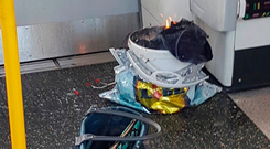 The 'bucket bomb' which partly detonated on board a morning rush-hour train Photo: Kevin Coombs