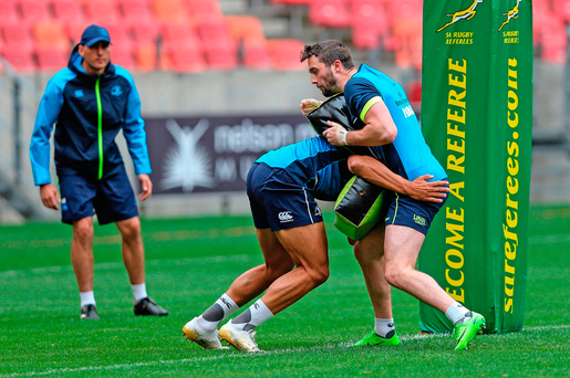 Leinster's Barry Daly trains at Nelson Mandela Bay Stadium in Port Elizabeth, South Africa, yesterday. Photo: Sportsfile