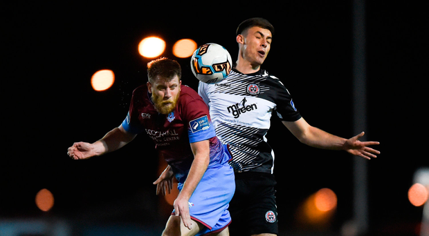 Chris Mulhall of Drogheda United in action against Warren O'Hora of Bohemians. Photo by Seb Daly/Sportsfile