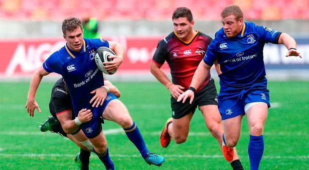 Luke McGrath, left, and Seán Cronin of Leinster during the Guinness PRO14 Round 3 match between Southern Kings and Leinster at the Nelson Mandela Bay Stadium in Port Elizabeth, South Africa. Photo by Richard Huggard/Sportsfile