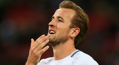 Harry Kane of Tottenham Hotspur reacts during the Premier League match between Tottenham Hotspur and Swansea City at Wembley. Photo: Getty Images