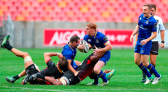 Leinster's Cathal Marsh takes on the Southern Kings in front of a paltry crowd in Port Elizabeth. Photo: Sportsfile