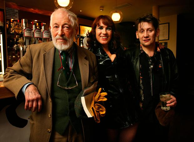 FAIRYTALE OF NEW YORK: JP Donleavy, Victoria Mary Clarke and Shane MacGowan in The Shelter on Vicar Street, Dublin in 2007. Photo: Tony Gavin