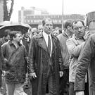 "Alfredo ""Freddie"" Scappaticci (extreme left of picture/side-faced) aka Stakeknife pictured at the 1988 funeral of IRA man Brendan Davidson."