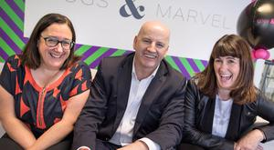 Jane Gallagher (left) and Roisin Callaghan of Cogs & Marvel with Sean Gallagher. Picture: Fergal Phillips