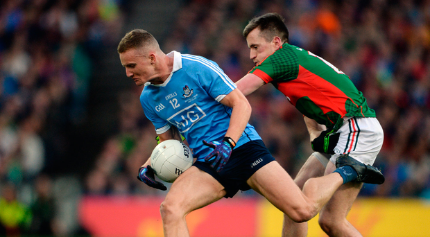1 October 2016; Ciarán Kilkenny of Dublin in action against Cillian O'Connor of Mayo during the GAA Football All-Ireland Senior Championship Final Replay match between Dublin and Mayo at Croke Park in Dublin. Photo by Piaras Ó Mídheach/Sportsfile