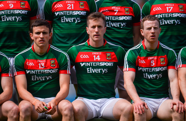 7 August 2017; Mayo players, from left, Jason Doherty, captain Cillian O'Connor and Colm Boyle ahead of the GAA Football All-Ireland Senior Championship Quarter Final replay match between Mayo and Roscommon at Croke Park in Dublin. Photo by Ramsey Cardy/Sportsfile