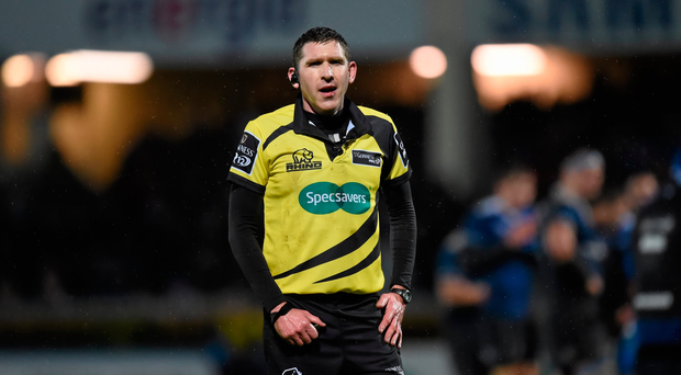 1 January 2016; Referee George Clancy. Guinness PRO12 Round 11, Leinster v Connacht. RDS Arena, Ballsbridge, Dublin. Picture credit: Stephen McCarthy / SPORTSFILE