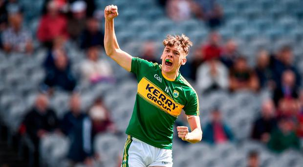 David Clifford of Kerry celebrates scoring his side's first goal in the first minute during the Electric Ireland GAA Football All-Ireland Minor Championship Final match between Kerry and Derry at Croke Park in Dublin. Photo by Seb Daly/Sportsfile