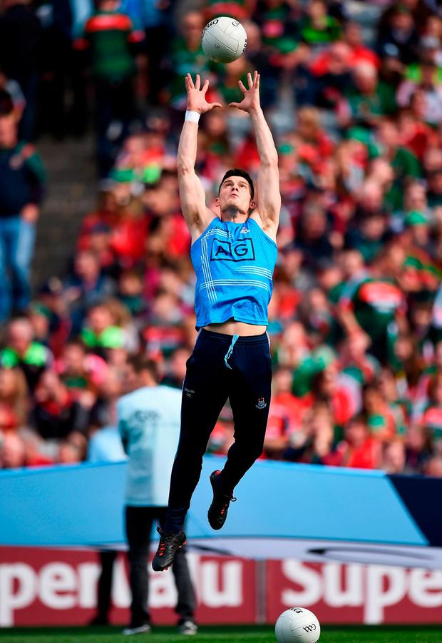 Diarmuid Connolly of Dublin warms up prior to the GAA Football All-Ireland Senior Championship Final match between Dublin and Mayo at Croke Park in Dublin. Photo by Seb Daly/Sportsfile