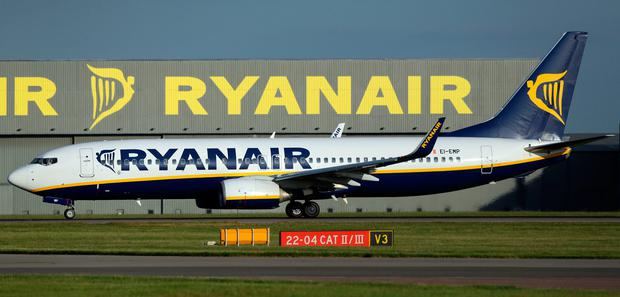 A Ryanair plane at Stansted Airport. Photo: Chris Radburn/PA Wire