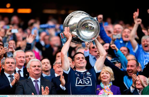 Dublin captain Stephen Cluxton lifts the Sam Maguire cup after the GAA Football All-Ireland Senior Championship Final match between Dublin and Mayo at Croke Park in Dublin. Photo by Stephen McCarthy/Sportsfile