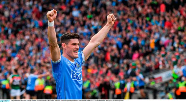 17 September 2017; Diarmuid Connolly of Dublin celebrates after the GAA Football All-Ireland Senior Championship Final match between Dublin and Mayo at Croke Park in Dublin. Photo by Ray McManus/Sportsfile