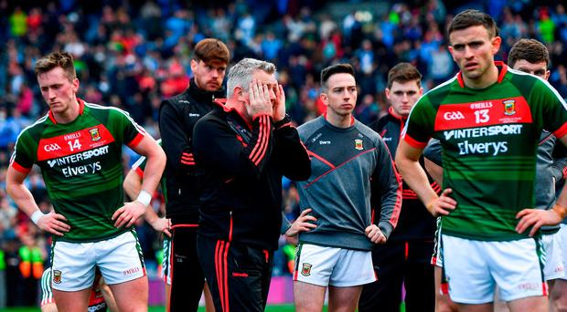 Mayo manager Stephen Rochford following his side's defeat in the GAA Football All-Ireland Senior Championship Final match between Dublin and Mayo at Croke Park in Dublin. Photo by Ramsey Cardy/Sportsfile