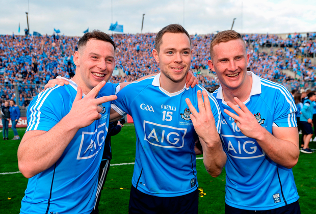 Dublin players, from left, Philip McMahon, Dean Rock and Ciarán Kilkenny celebrate