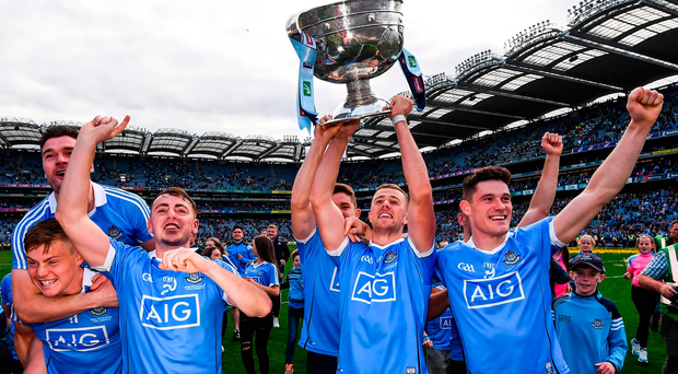 Paul Mannion and his Dublin team-mates celebrate following the GAA Football All-Ireland Senior Championship Final match between Dublin and Mayo at Croke Park in Dublin. Photo by Stephen McCarthy/Sportsfile