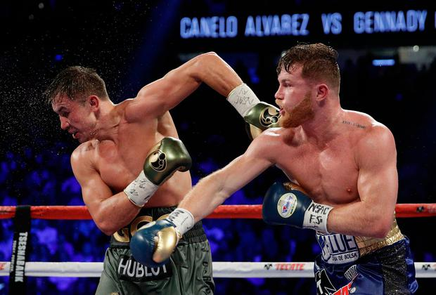 """Golovkin branded Byrd's scorecard """"terrible, unbelievable"""" after landing 218 punches to Canelo's 169. Image: AP Photo/John Locher"""