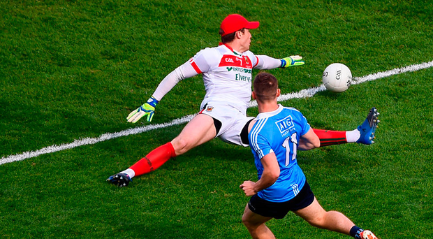 Con O'Callaghan of Dublin scores his side's first goal. Photo: Sportsfile