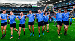 Dublin players, from left, Michael Fitzsimons, John Small, Ciarán Kilkenny, Niall Scully, Cormac Costello, Con O'Callaghan, Paul Mannion and Diarmuid Connolly celebrate following the GAA Football All-Ireland Senior Championship Final. Photo: Sportsfile