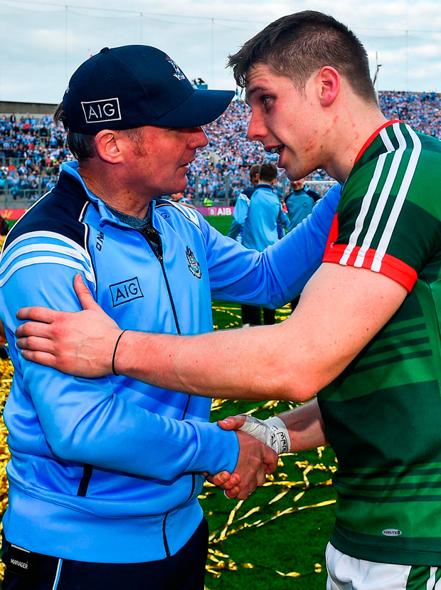 Dublin manager Jim Gavin shakes hands with Lee Keegan of Mayo. Photo: Sportsfile