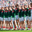 Mayo players during the national anthem prior to the GAA Football All-Ireland Senior Championship Final. Photo: Sportsfile